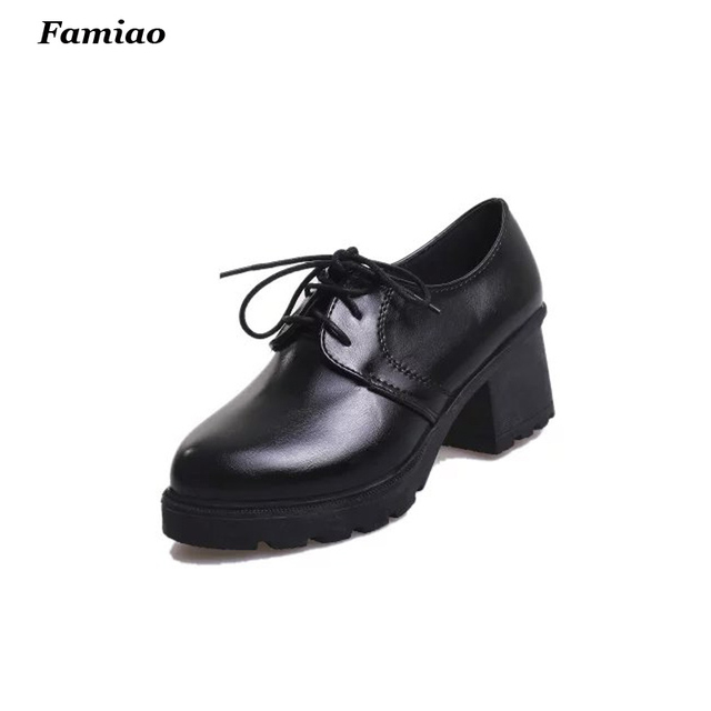 2016 new spring autumn fashion solid color Leisure style PU leather women shoes chunky heels oxfords shoes