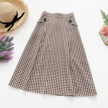 AcFirst Women Black Khaki Skirts High Waist Mid-Calf Long Skirt Clothing A-Line Vintage Plaid