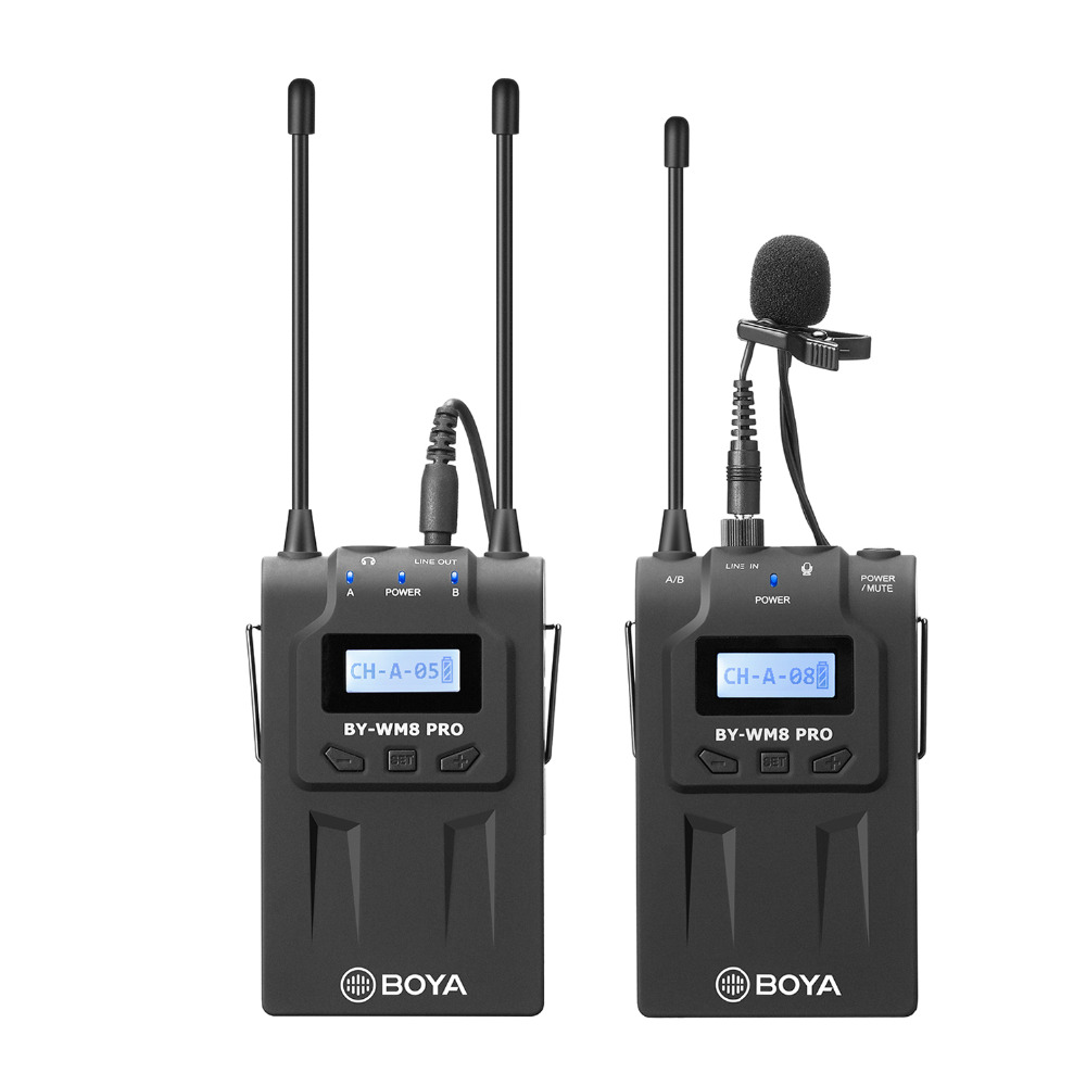 BOYA BY-WM8 Pro-K1 UHF Dual-Channel Lavalier Wireless Microphone System with LCD Screen for Canon Nikon DSLR Camera Camcorder цена