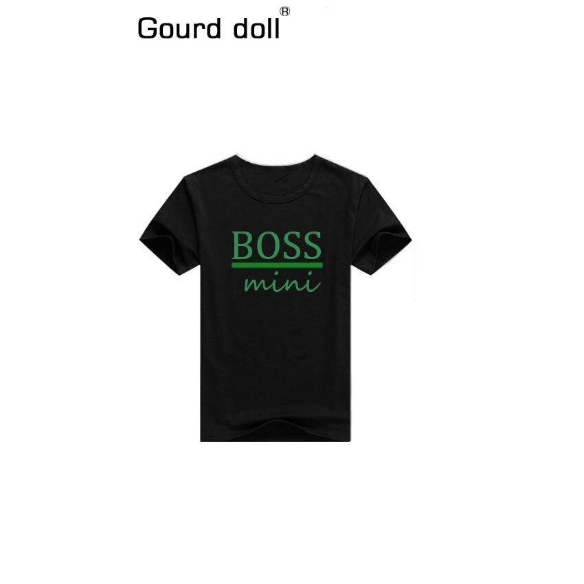 Семейные комплекты одежды, футболки для папы и сына, семейная одежда, детские футболки, топы с буквенным принтом gourd Doll - Цвет: boss mini green