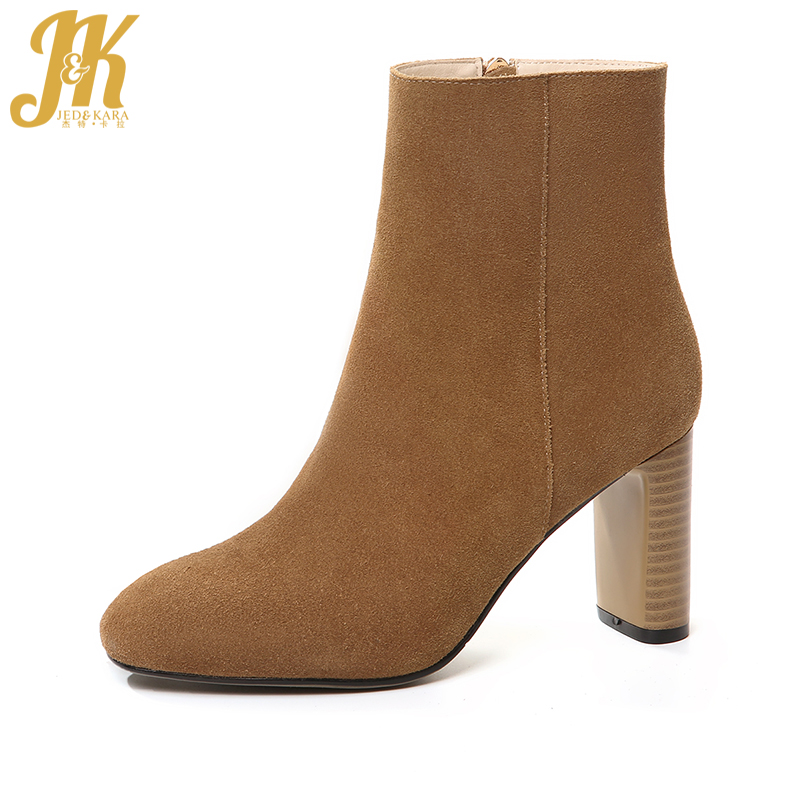 J&K Charming Ankle Boots Brand High Thick Heel Women Shoes Female Footwear New Arrival Side Zip Natural Leather Autumn Boots