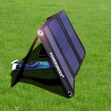 PowerGreen Solar Charger Panel Double Output 21 Watts Folding Solar Cell Power Bank Battery Backup Bag Solar Charger for LG