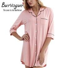 Burvogue Новые поступления Для женщин модал Ночные сорочки мягкий домашнее платье Сексуальная Ночная рубашка; одежда для сна одноцветное сна Lounge ночная рубашка трусы