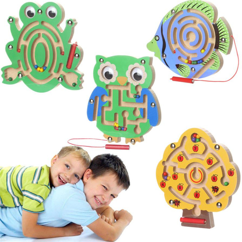 Children Magnetic Maze Toy Kids Wooden Puzzle Game Kids Early Educational Brain Teaser Wooden Toy Intellectual Jigsaw Board MM3 intellectual shape match puzzle column toy for kids