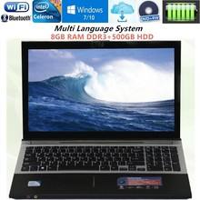 8GB RAM DDR3+500GB HDD 15.6 inch 1920*1080P Intel Pentium N3520 Quad Core Laptop Windows10 Bluetooth Notebook DVD-RW Office Home