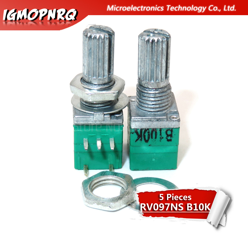 5pcs RV097NS B10K 10k 5PIN Single Linked Potentiometer With A Switch Audio Amplifier Sealing Potentiometer  RV097NS-B10K