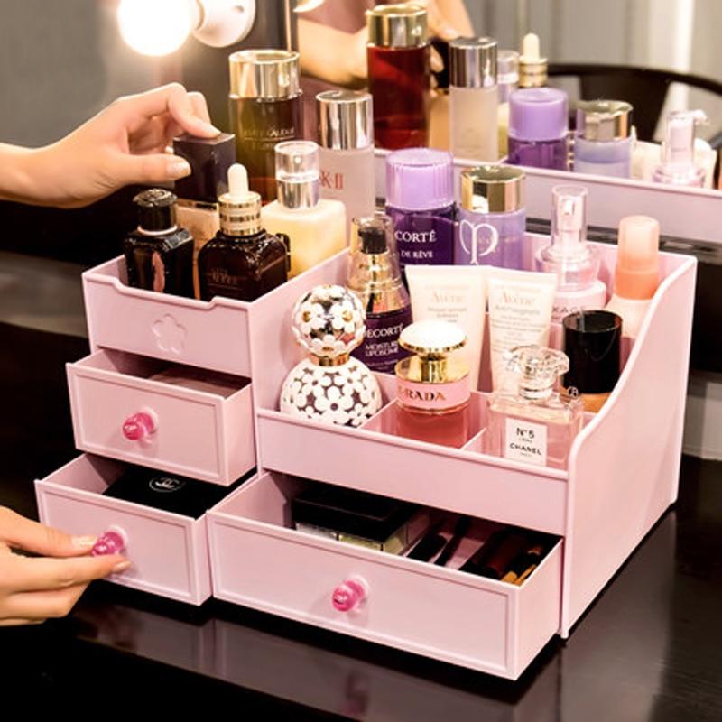 Make Organizer Plastic Opbergdoos Cosmetische Make Up Case Sieraden Doos Lippenstift Borstel Opbergdozen - 3