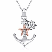 PYX0032 M 100 Real Pure 925 Sterling Silver Anchor Pendant Rose Gold Star Paddle Pendant Necklace