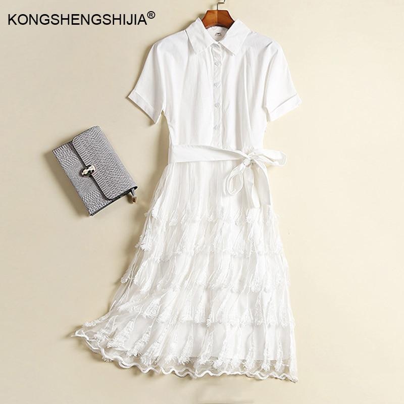83485a22b112 2017 patchwork mesh feathers designer women dresses casual style runway  summer news white short sleeve mid calf dress