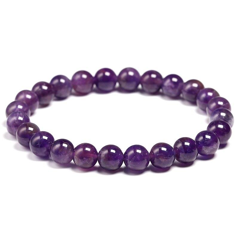 Natural Amethyst Bracelet Women Couple Natural Stone Bracelet Purple Quartz Bracelets 6 8 10mm Bead Bangles Jewelry Gifts