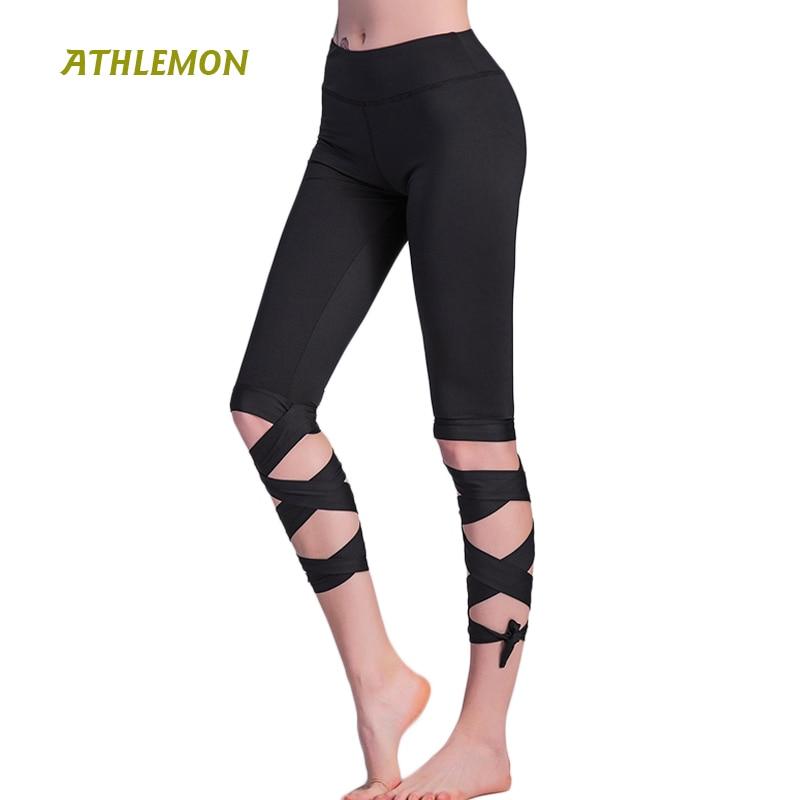 Women Ballerina Yoga Pants Sport Leggings High Waist Fitness Cross Yoga Ballet Dance Tight Bandage Cropped Pants Sports ZC1702