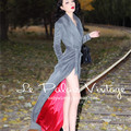 Le palais винтаж зима женщины 50-х годов серый элегантный длиной макси шерстяное пальто pinup манто роковой кашемир abrigos mujer casaco feminino
