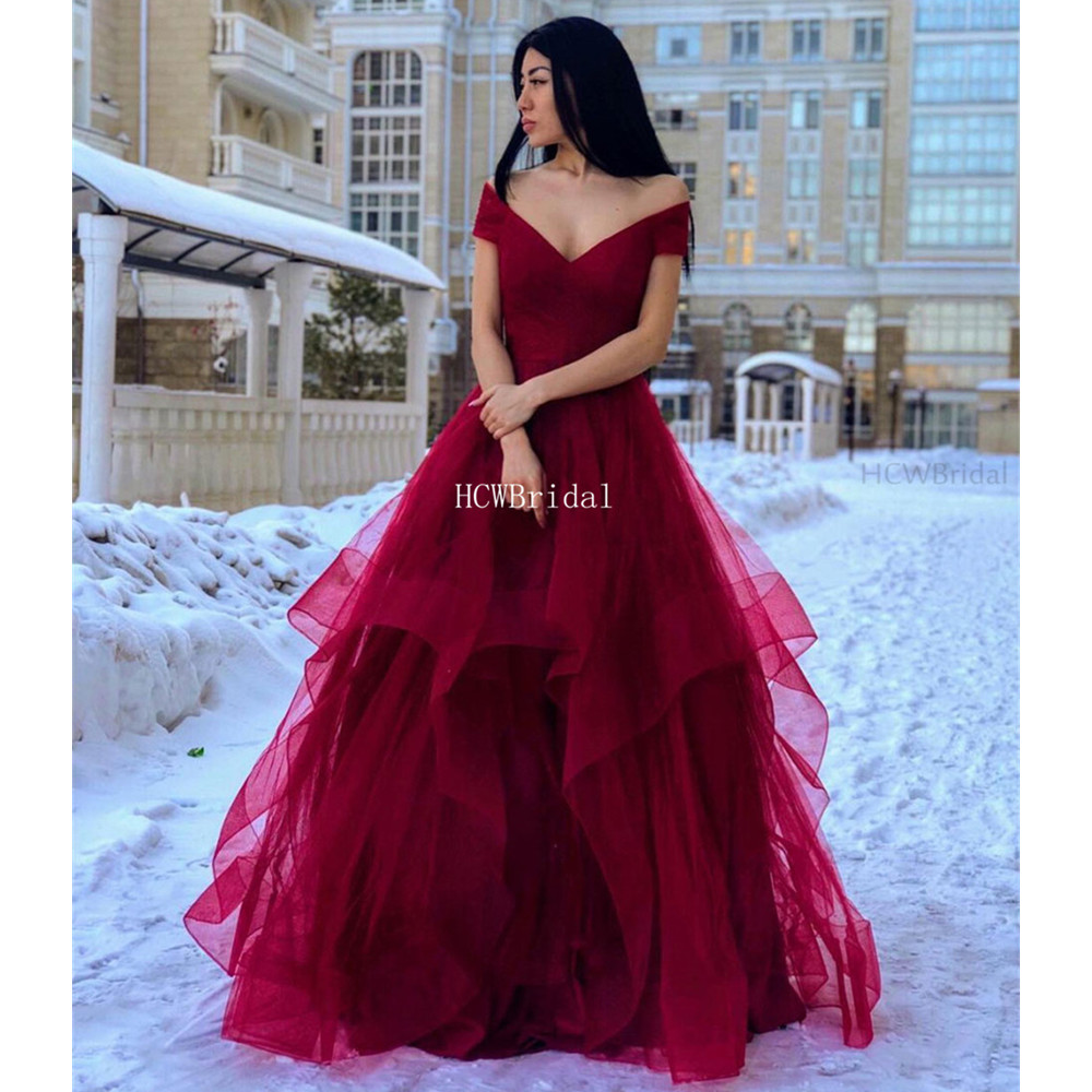 Graceful Dark Red Tulle   Prom     Dresses   2019 Tiered A Line Off The Shoulder Long Formal Occasion Women Gowns Robe De Soiree Cheap