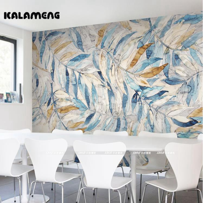 KALAMENG Custom Modern Luxury Photo Wall Mural 3D Wallpaper Papel De Parede  Living Room Tv Backdrop Wall Paper Of Cold Leaves custom photo wallpaper large mural wall stickers 3d stereo digital english living room tv wall papel de parede