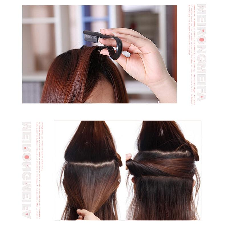 New V Shape Hair Brush Comb Fast Hair Straightener Black Extension