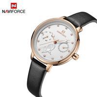 2019 NAVIFORCE Women Watch Fashion Quartz Lady Leather Watchband Date Week Casual Waterproof Wristwatch Gift for Girl