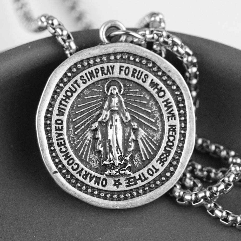 ผู้ชายผู้หญิงมหัศจรรย์สร้อยคอยุคกลาง Virgin Mary จี้ศิลปินคาทอลิกศาสนาเหรียญเครื่องประดับ