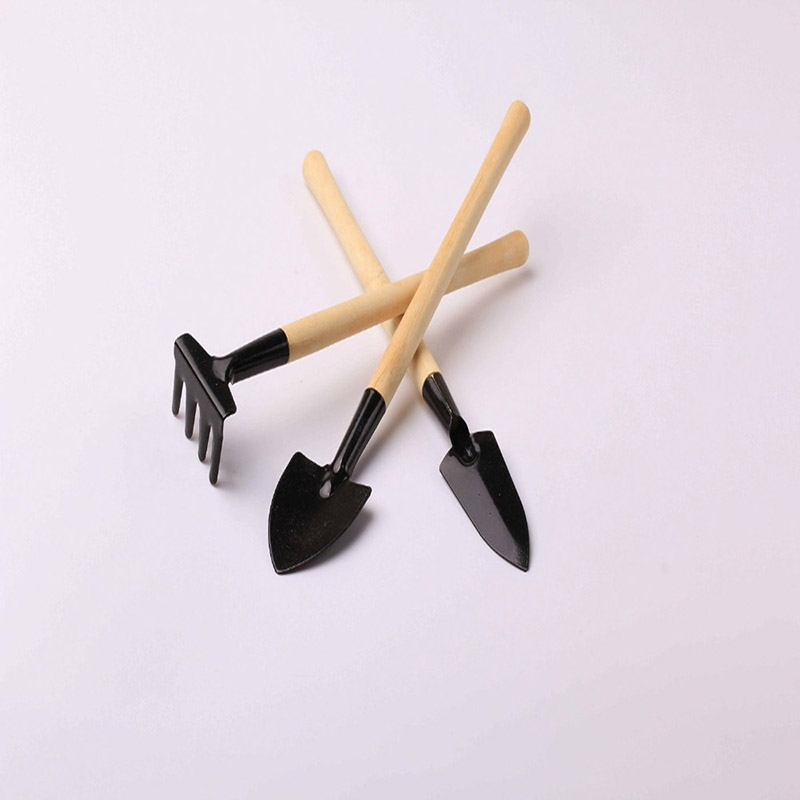 3pcs mini garden plant tools shovel rake spade wood handle for Spade rake garden tools