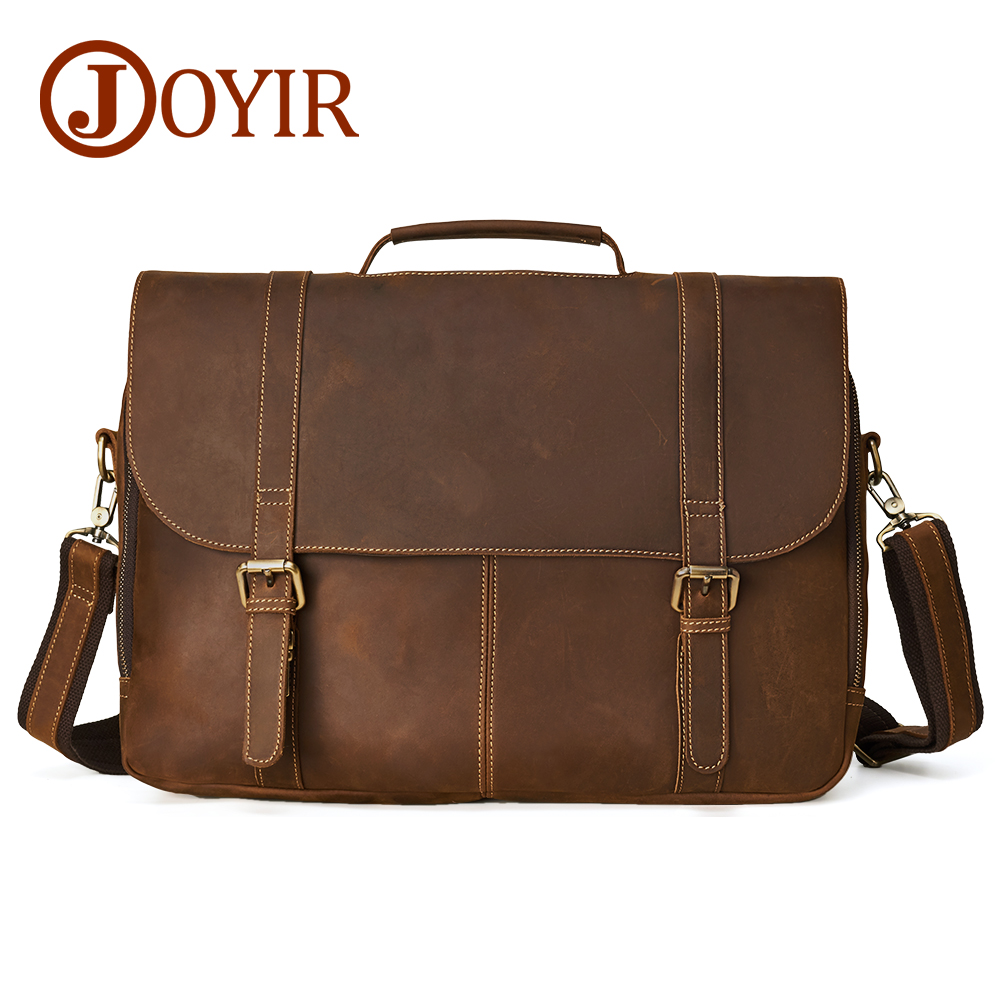 JOYIR Genuine Leather Men Bag Briefcase Computer Laptop Handbags Shoulder Bags for Male Crossbody Messenger Bag Business 6303 business men briefcase handbags genuine leather men bag messenger bags shoulder crossbody bags leather laptop bag male