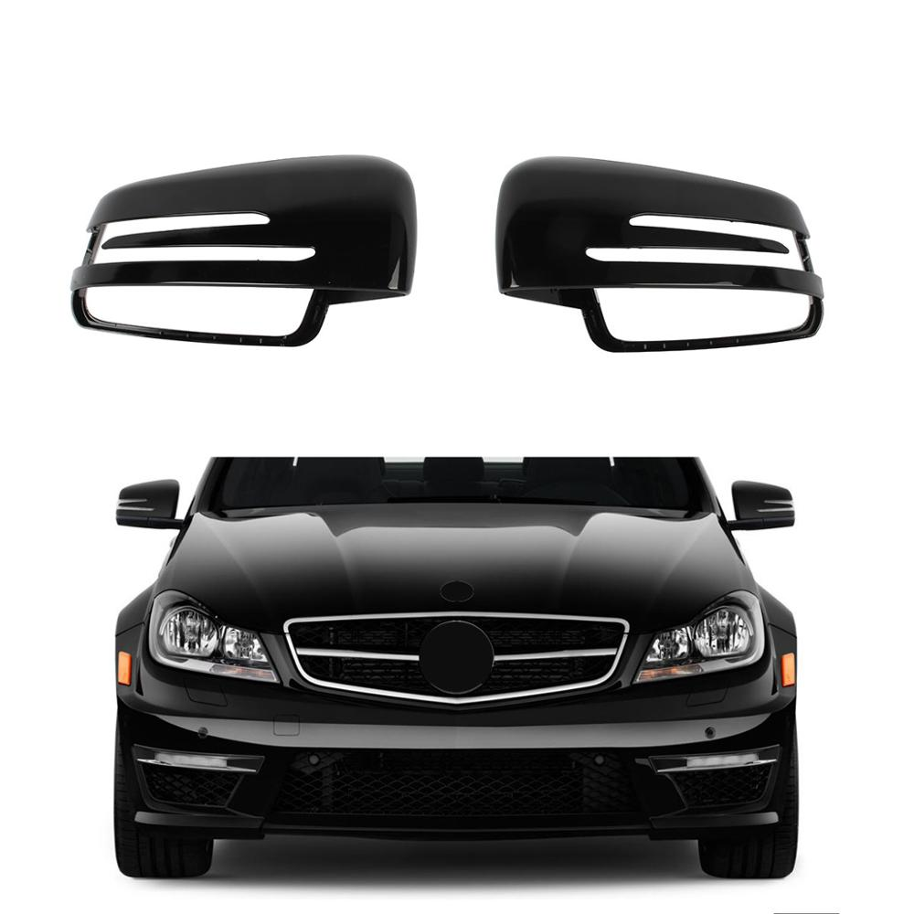 Left Right Black Rearview Wing Mirror Cover Cap For Mercedes-Benz A B C E S Class W176 W246 W204 W212(Saloon) W221 GLA CLA C117
