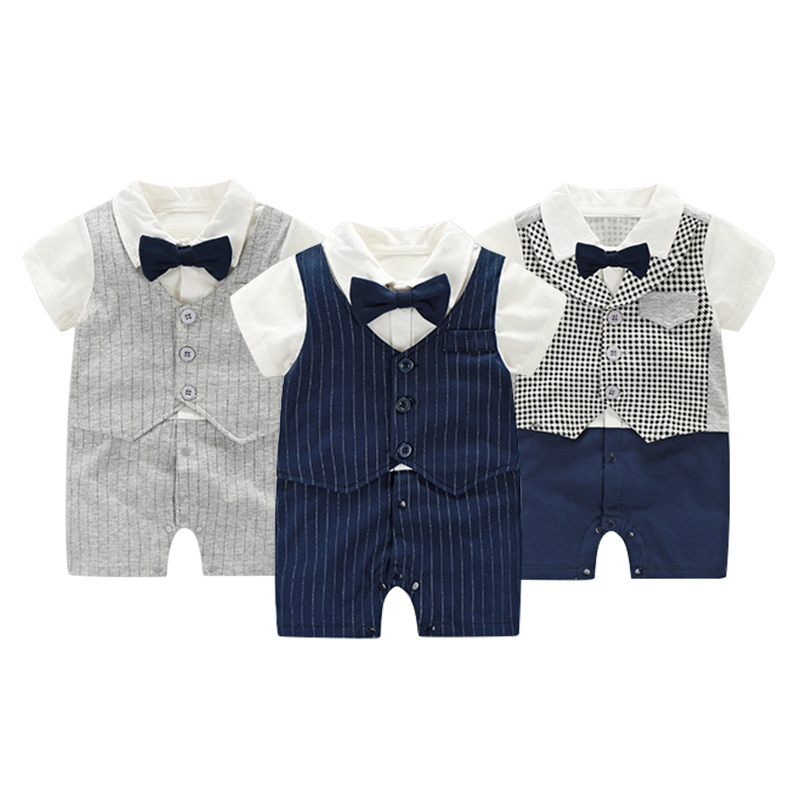 Newborn Baby Boy Rompers Cotton Tie Gentleman Suit Bow Leisure Body Suit Clothing Toddler Jumpsuit Baby Boys Brand Clothes gentleman baby boy clothes black coat striped rompers clothing set button necktie suit newborn wedding suits cl0008