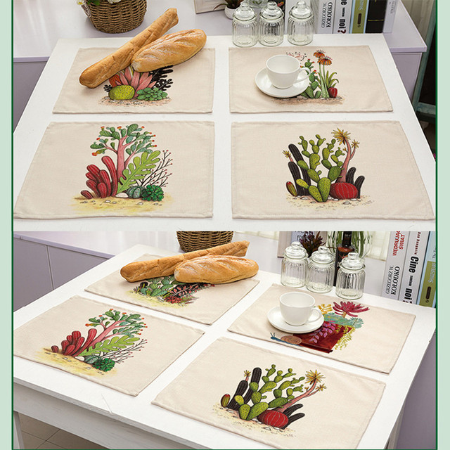 Artificial Succulent Pattern Pad Cotton Linen Hand Painted Placemat Dining  Table Insulation Mat Coaster Kitchen Accessories