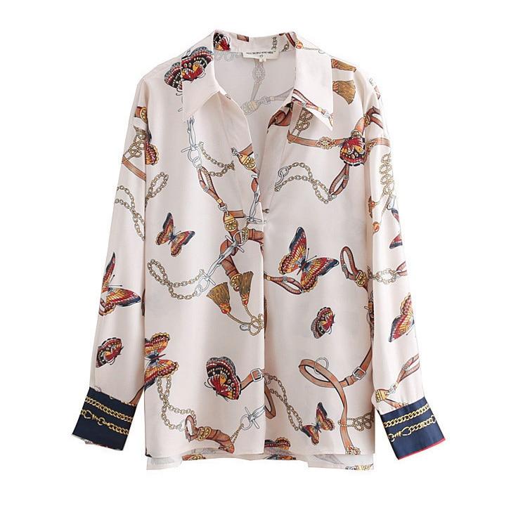 2018 women vintage chain butterfly printing casual kimono   blouses     shirt   women autumn chic blusas roupas femininas tops