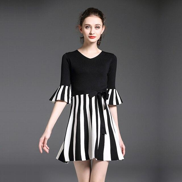корейские модные женские полосатые вязаные платья новые осенние