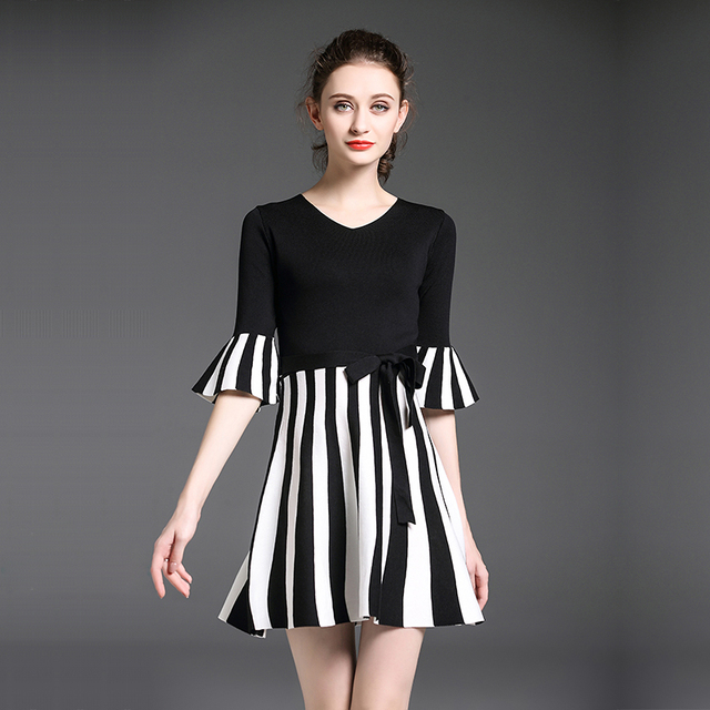 7604d5ce3 korean fashion women stripes knit dress new autumn spring female a-line  dresses knitwear vestidos v neck basic outfit bow girl