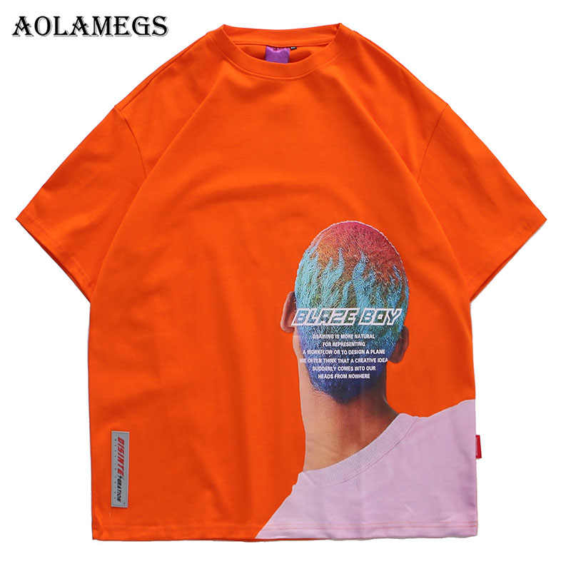 Aolamegs Mannen T-shirt Brief Cool Boy Gedrukt heren Shirts O-hals T-shirt Fashion High Street Hip Hop tees Streetwear Zomer