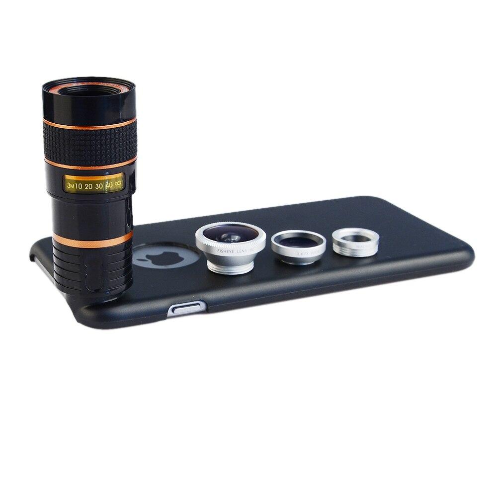 Cep telefonları ve Telekomünikasyon Ürünleri'ten Cep Telefonu Objektifleri'de Apexel 4 in 1 Cep Telefonu Kamera Lens Geri Case ile Geniş Açı Makro balık gözü 8X Telefoto Lens kapağı iPhone x 7 8 6s artı title=
