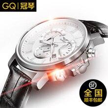 Original GUANQIN hombres de la marca de moda reloj de cuarzo luminoso impermeable de lujo de negocios de cuero multifunción relojes deportivos