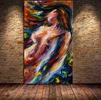 Handmade Palette Knife Abstract Oil painting Nude Naked Girl Wall Art Gift Sexy Lady Painting for Living Room Decoration