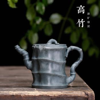 Purple Sand Pot Mine Green Mud Bamboo Pot Jiang Jianjun Teapot High Bamboo Pot Wholesale High-grade Gift Craftsman