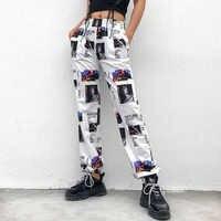 Suchcute carga calças femininas com impressão de perna larga calças de alta rua do punk feminino breeche harajuku harem pantalon carga femme