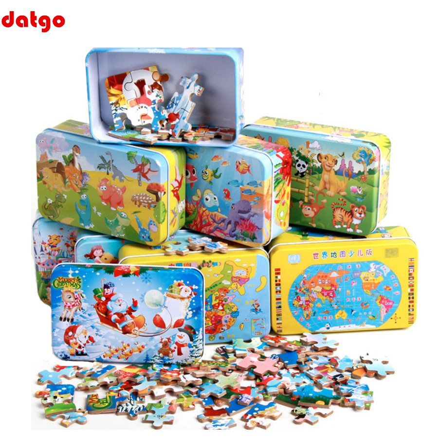 60 Pieces Puzzle Wooden Toys Cartoon Animal Wood Puzzles with Iron Box Kids Baby Early Educational Learning Toys for Children|Puzzles| | - AliExpress