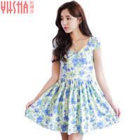Fashion Summer Women Sweet Little Fresh High Waist Was Thin Chiffon Floral Girls Dress Female