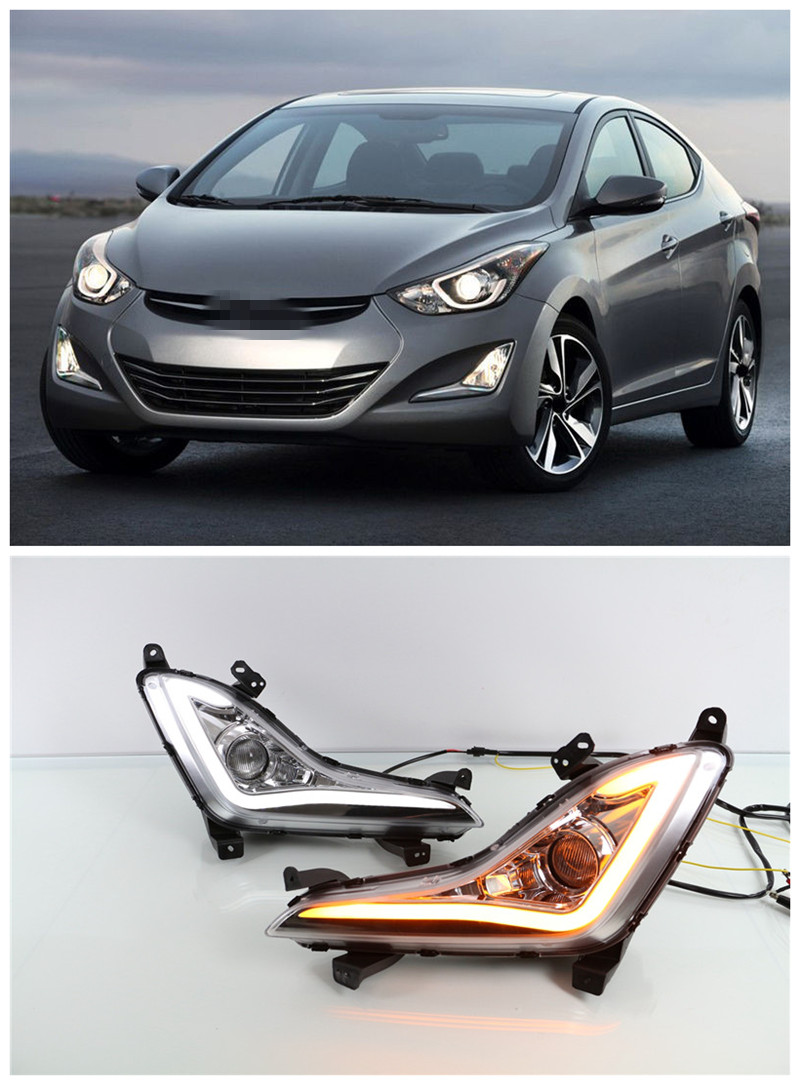 LED DRL Daytime Running Light With Fog Lamp Projector Lens For Hyundai Elantra 2014 2015 With Turn Signal Light