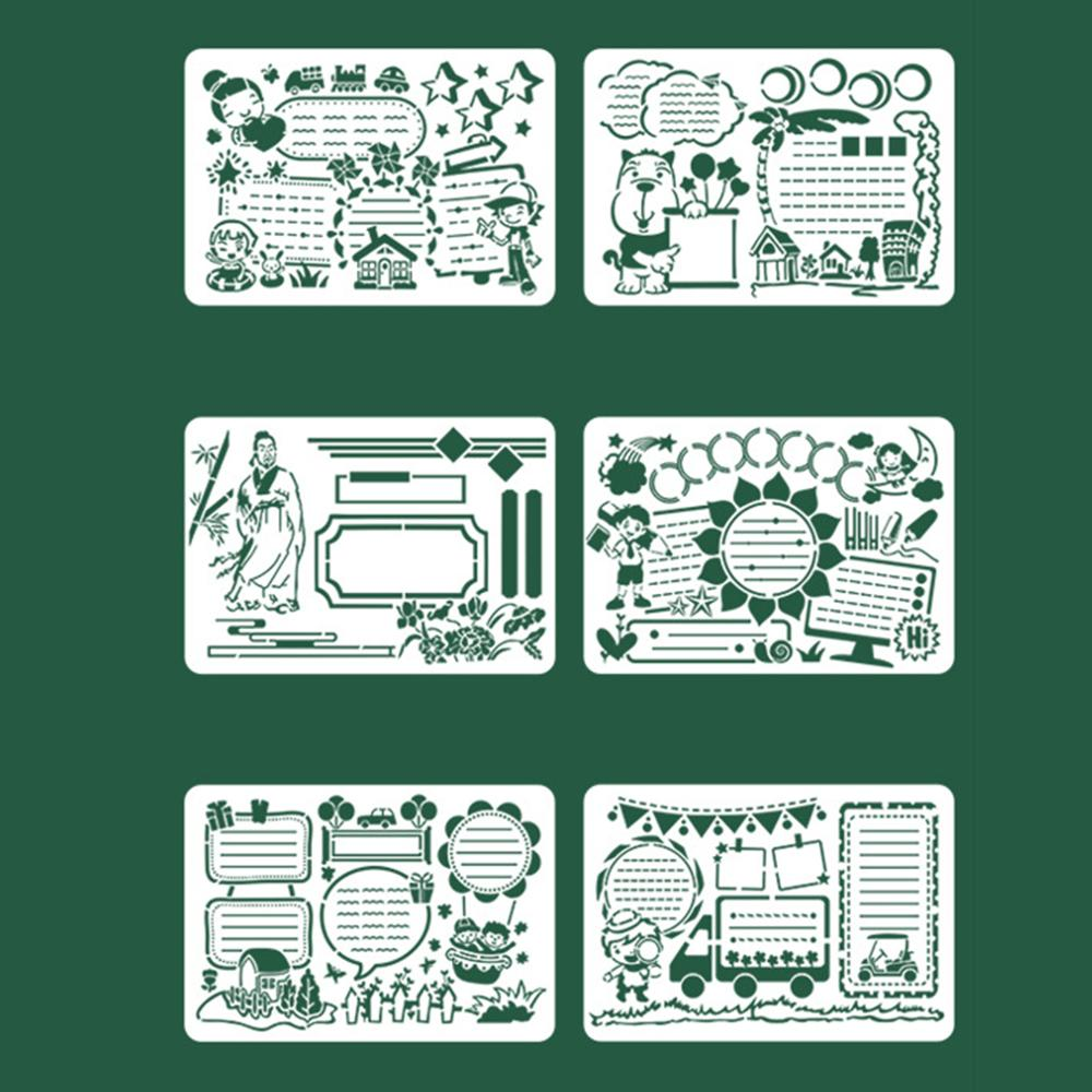 6pcs/set Kids Plastic Painting Theme Drawing Template Rulers Hand Craft DIY Stencils Decor Tools Stationery Children Gifts