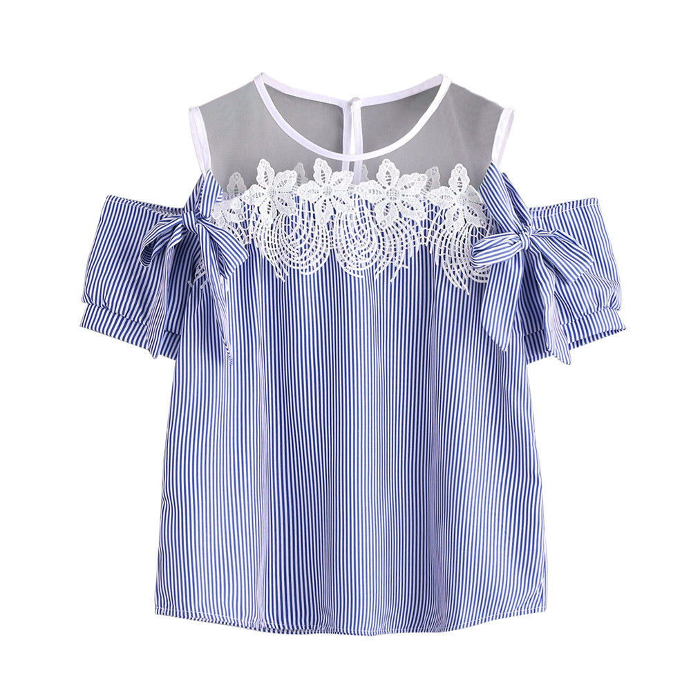 Free Ostrich Blouse 2019 Women Short Sleeve Off Shoulder Lace Striped Casual Tops tumblr top women casual C2635