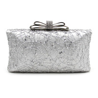 Women Clutch Evening Bags Bow Bracelet Ladies Day Clutches For Wedding Party Squined Decoration Purses And