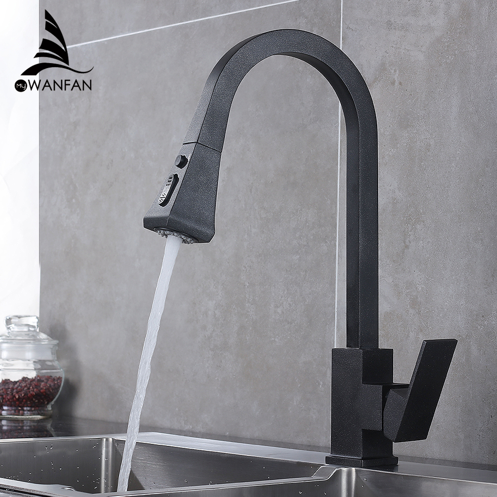 Kitchen-Faucets Pull-Out Water-Mixer Rotation Black Single-Hole Square Swivel 360-Degree