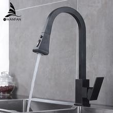 Robinet de cuisine carré noir à retrait à poignée unique, robinet de cuisine à trou unique pivotant avec Rotation à 360 degrés avec robinet mitigeur deau 866399R