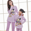 Christmas family pajamas matching family clothes mother daughter sleepwear striped character family look pajamas casual homewear