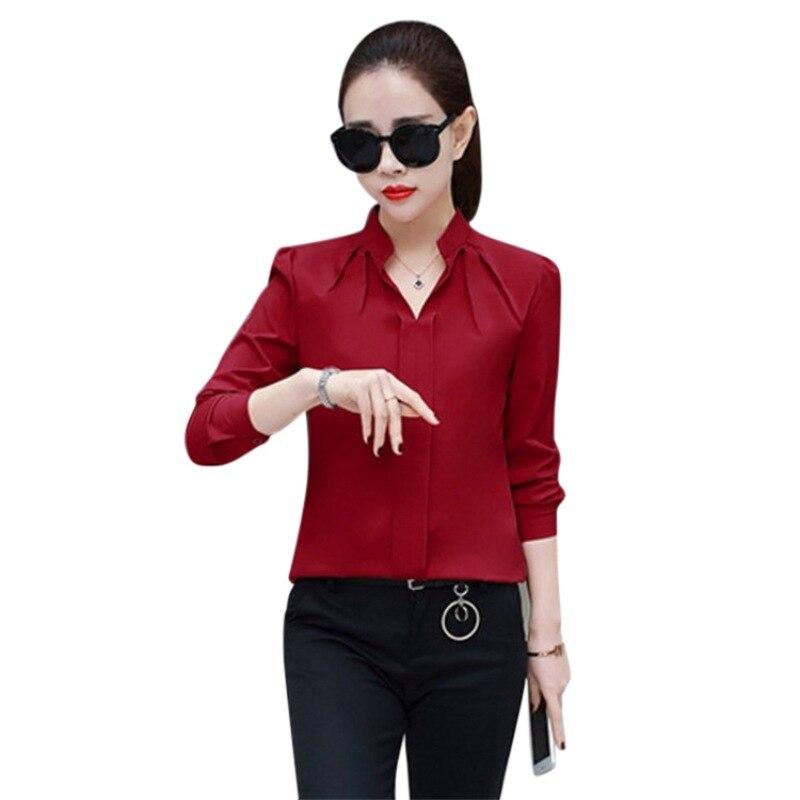 ROPALIA Elegant Sexy V-neck   Blouse   Long Sleeve   Shirt   Summer Women Chiffon   Blouse     Shirts
