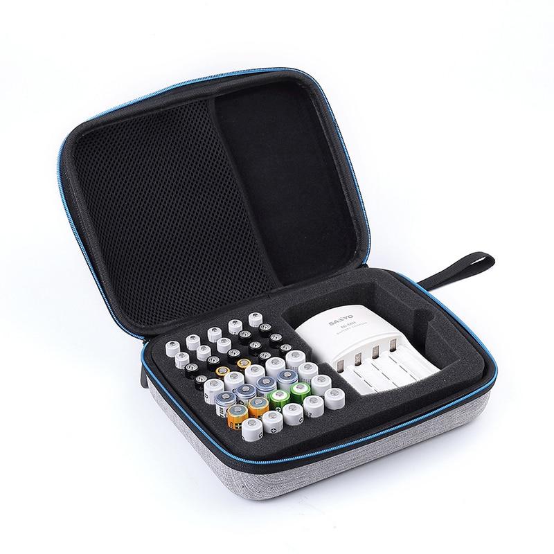Saco De Caixa De Armazenamento Organizador da bateria Bateria EVA para 40 pcs AAA Bateria AA Caso Titular Container Atacado Pirce Porta Pilas #30