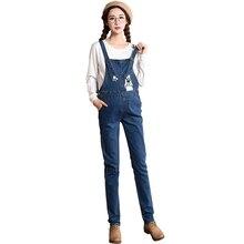 d4b3931cf1988 2018 Autumn Pregnant Women Fashion Embroidery Denim Pencil Pockets Rompers  Pants Maternity Jeans Trousers Pregnancy Jumpsuits