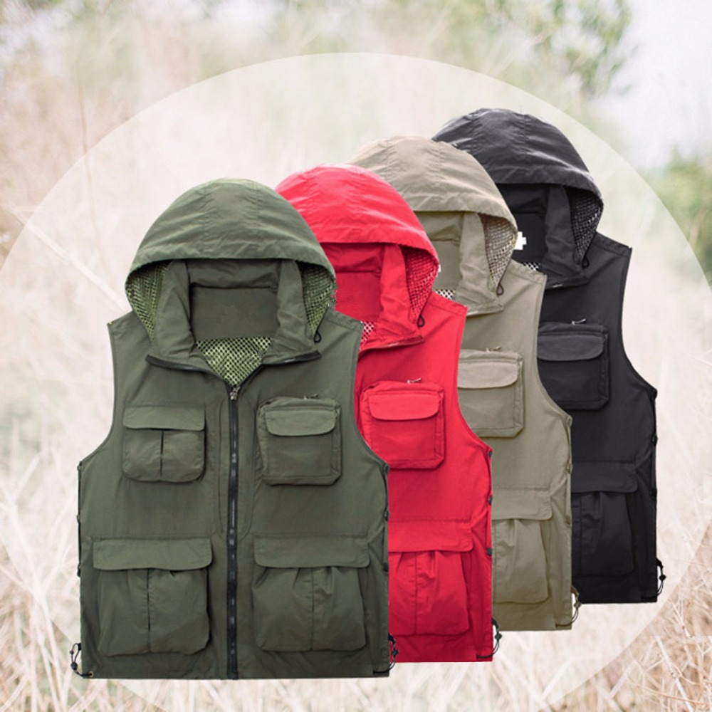 Mens Fishing Vest Outdoor chaleco Mesh Fly Photography with Detachable Hood Waistcoat
