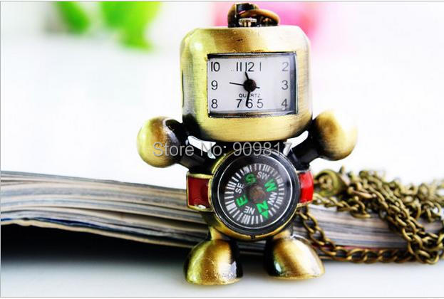 Friendly 10 Pcs/lot Vintage Popular Bronze Robot A Compass Pocket Watch Pendant Necklace Pendant Gift Watches