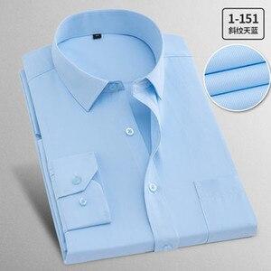 Image 4 - Camisas de trabajo de talla grande para hombre, camisas de manga larga informales, ajustadas, de algodón, blancas, a rayas, para primavera y otoño
